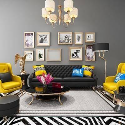现代沙发, 沙发茶几, 沙发茶几组合, 现代茶几, 后现代, 下得乐3888套模型合辑