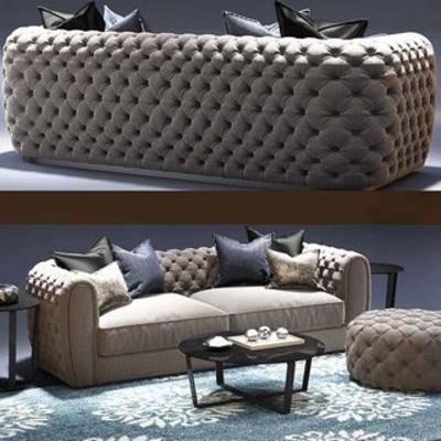 现代沙发, 沙发茶几, 沙发茶几组合, 现代茶几, 现代, 下得乐3888套模型合辑