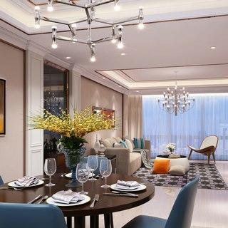 现代吊灯,现代简约,现代客厅,现代餐厅,现代桌椅组合