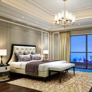 现代吊灯,现代卧室,现代简约,现代床,现代台灯