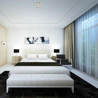 现代卧室,现代简约,现代台灯,现代窗帘,现代挂画