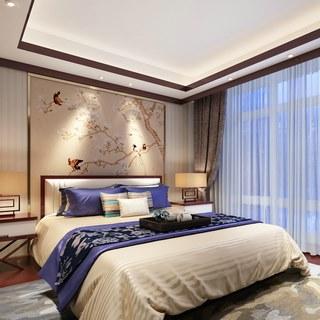 中式风格,中式床,新中式,中式卧室,中式台灯