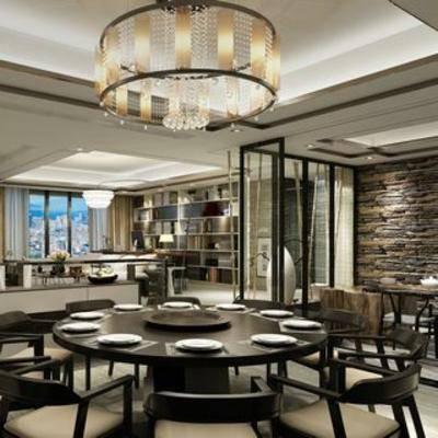 新中式, 客厅, 餐具, 餐桌椅, 吊灯