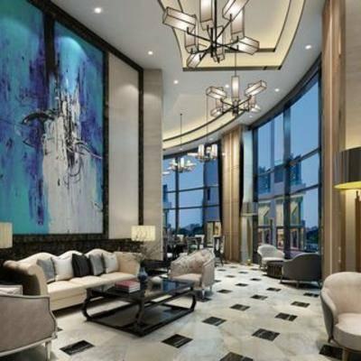 酒店大堂, 中式大堂, 现代, 桌椅组合, 中式