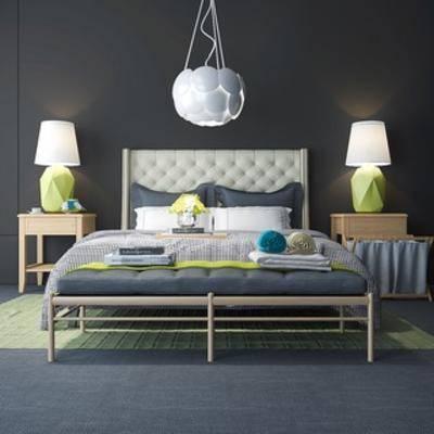 床, 床具, 双人床, 北欧简约, 北欧双人床, 北欧床具, 下得乐3888套模型合辑, 扮家家-积分兑换300套模型【三】