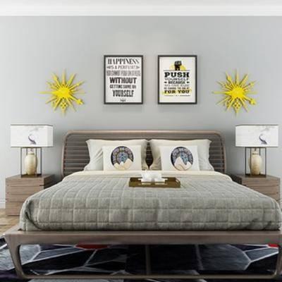 北欧床, 床具, 双人床, 北欧简约, 北欧床具, 挂画, 台灯, 床头柜, 下得乐3888套模型合辑