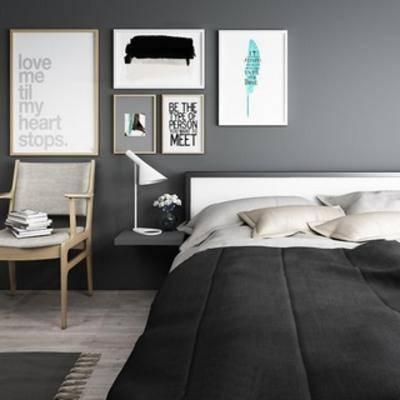 北欧床, 床具, 双人床, 北欧简约, 北欧床具, 下得乐3888套模型合辑