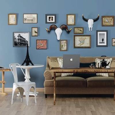 现代沙发, 沙发茶几组合, 现代, 挂画, 落地灯