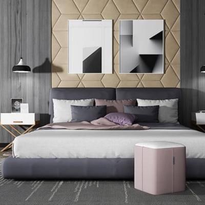 吊灯, 北欧床, 双人床, 床具组合, 北欧简约