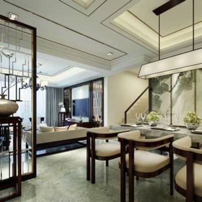 新中式, 客厅, 沙发, 餐桌椅, 吊灯
