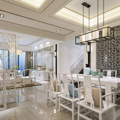 新中式, 客厅, 吊灯, 餐桌椅, 摆件