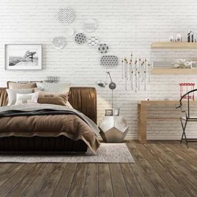 北欧书桌, 双人床, 北欧简约, 书桌椅, 北欧双人床, 北欧, 下得乐3888套模型合辑