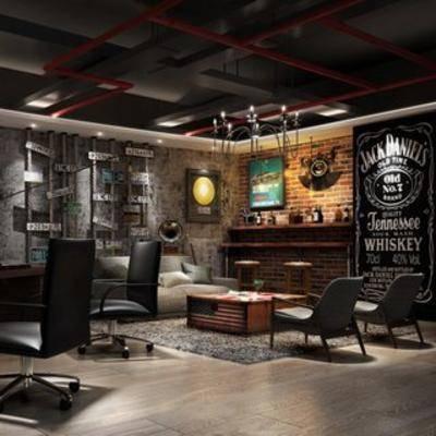 桌椅组合, 工业风格, 办公室, loft, loft办公室