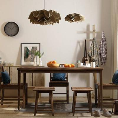 餐桌椅, 边柜, 陈设品, 北欧简约, 北欧餐桌椅, 下得乐3888套模型合辑