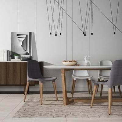 餐桌椅, 边柜, 北欧简约, 北欧餐桌椅