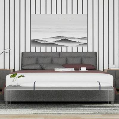 现代简约, 床具, 现代床具, 挂画, 床头柜, 下得乐3888套模型合辑