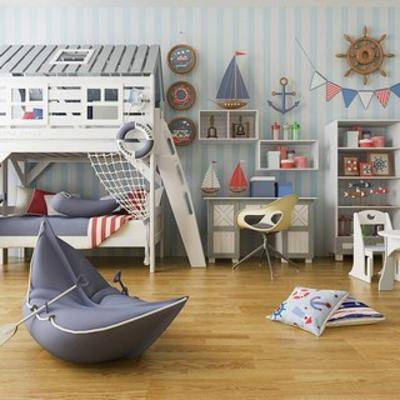 地中海, 兒童床, 陳設品, 書桌椅, 下得樂3888套模型合輯, 扮家家-積分兌換300套模型【三】