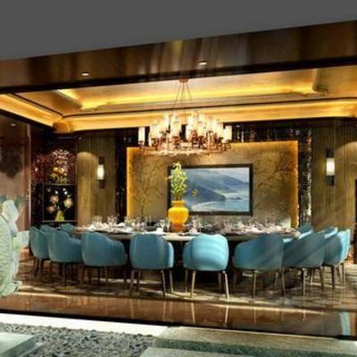 后现代, 吊灯, 餐桌椅, 餐具, 花瓶