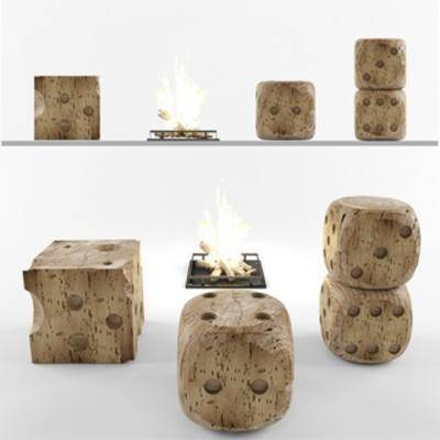 现代简约, 凳子, 骰子, 火炉, 现代火炉