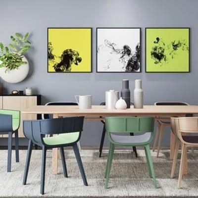 餐桌椅, 边柜, 北欧简约, 北欧边柜, 北欧餐桌椅, 下得乐3888套模型合辑