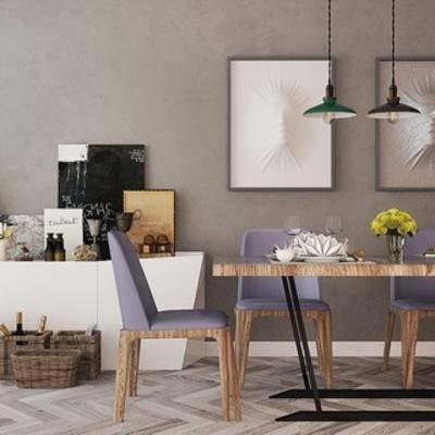 桌椅组合, 北欧桌椅, 边柜, 北欧简约, 北欧边柜, 北欧, 下得乐3888套模型合辑