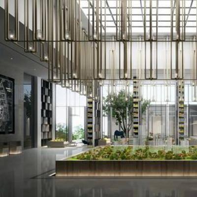 植物, 大厅, 大堂, 售楼处, 现代