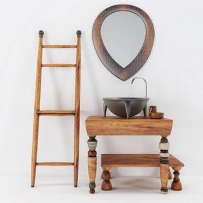 洗手台组合, 洗手台, 东南亚, 镜子, 下得乐3888套模型合辑