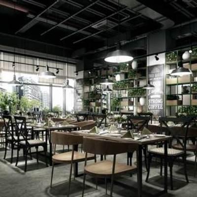 现代植物, loft, 现代餐厅, 现代简约, 桌椅组合