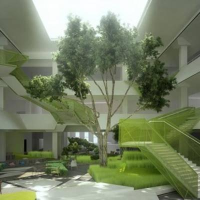 中庭, 建筑, 庭院, 植物, 现代