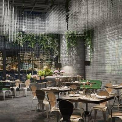 现代桌椅组合, 现代餐厅, 现代简约, 植物, 桌椅组合