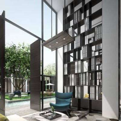 会客厅, 售楼处, 沙发, 新中式, 书架, 单椅