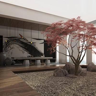 新中式, 茶室, 背景墙, 吊灯, 单椅, 地毯