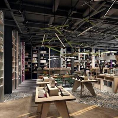 工业风, 图书柜, 单椅, 书架, 地毯
