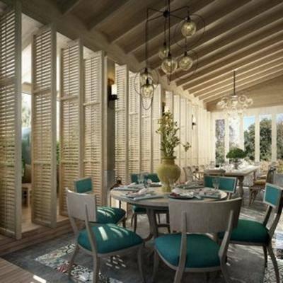 现代餐厅, 现代简约, 桌椅组合, 现代吊灯