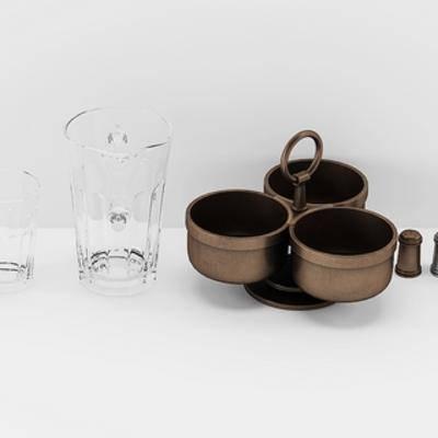 现代餐具, 陈设品组合, 餐具, 现代简约