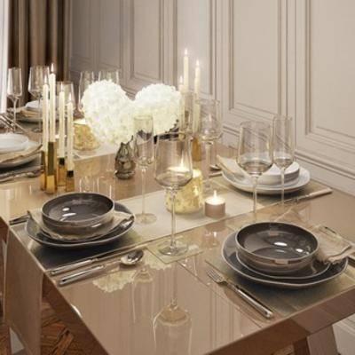 现代餐具, 陈设品组合, 餐具, 现代简约, 下得乐3888套模型合辑