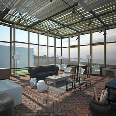 落地窗, 会客厅, 现代, 桌椅组合, 沙发茶几组合