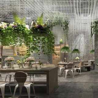 现代吊灯,桌椅组合,现代简约,现代餐厅,植物组合