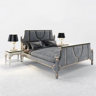 后现代简约双人床床具组合