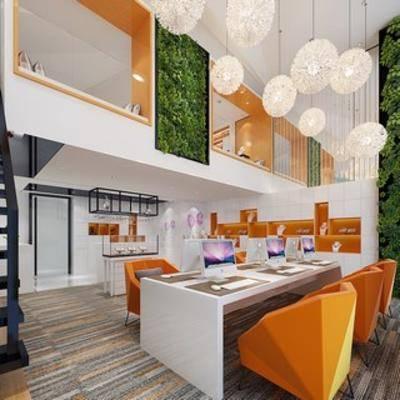 现代吊灯, 桌椅组合, 现代简约, 办公室