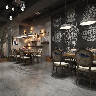 吊灯,桌椅组合,loft,工业风格.loft餐厅