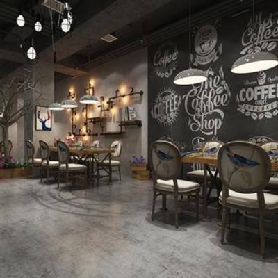 工业风格.loft餐厅, loft, 桌椅组合, 吊灯