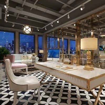 台灯, 桌椅组合, 现代简约, 现代办公室