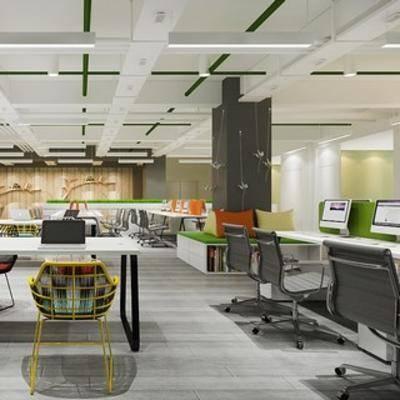 桌椅组合, 现代简约, 电脑, 现代办公室