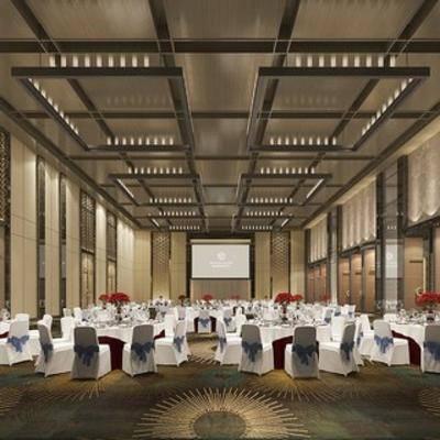 现代餐具, 现代酒店, 宴会厅, 餐厅, 桌椅组合