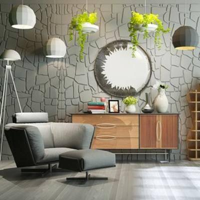 单人沙发, 北欧沙发, 边柜, 陈设品组合, 北欧, 扮家家-积分兑换300套模型【三】