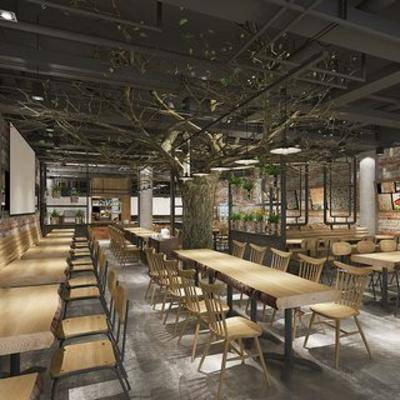 loft餐厅, loft, 工业风格, 桌椅组合