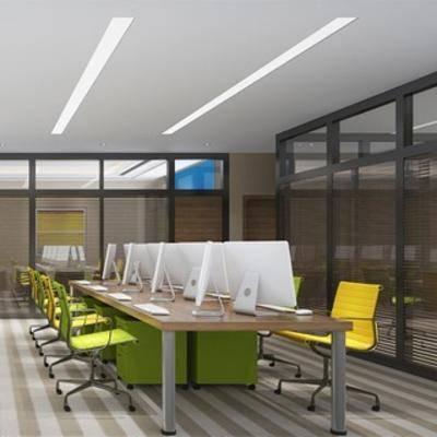 桌椅组合, 电脑, 现代, 办公室