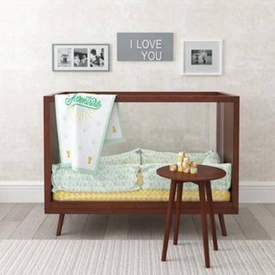 现代婴儿床, 边几组合, 婴儿床, 现代床, 现代简约