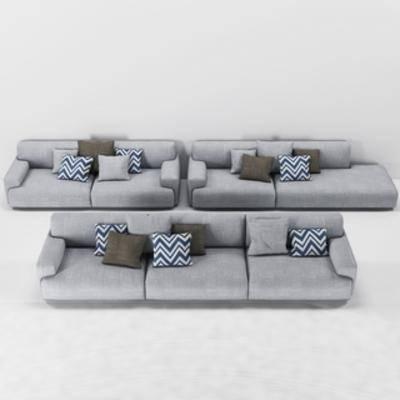 北欧简约, 北欧沙发, 多人沙发, 沙发, 下得乐3888套模型合辑